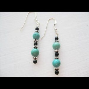 Jewelry - Sterling silver, turquoise, black onyx earrings